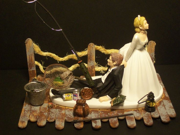 No Fishing On Dock Bride And Groom Wedding Cake Topper