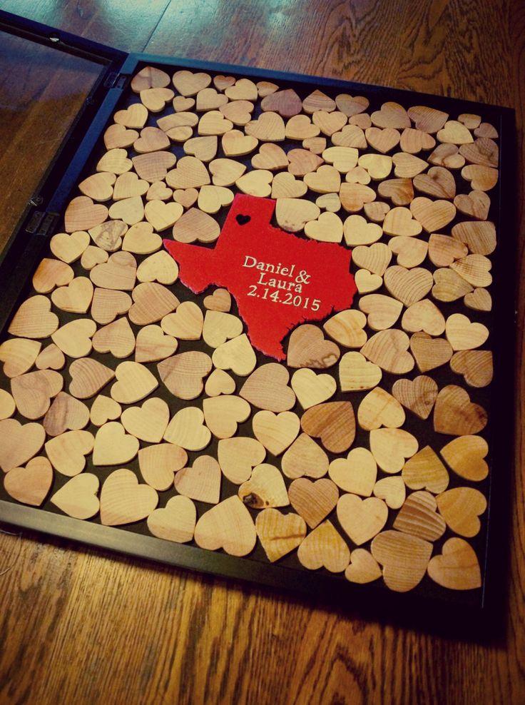 Alternative Wedding Guest Book -Wood Heart Guestbook - State Wedding - Original Personalized Custom Guestbook