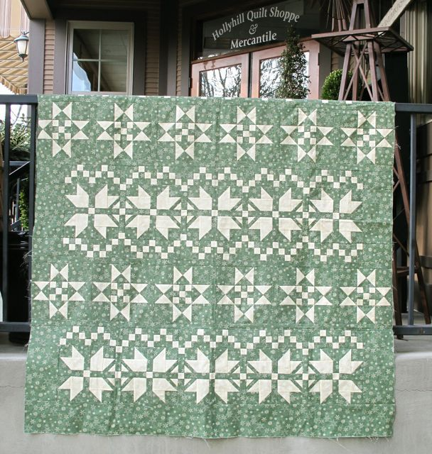 My Fair Isle Christmas Spirit quilt kit at Holly Hill Quilt Shoppe (Oregon) (I have made the red version of this it is very nice quilt)