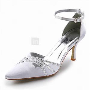 Topkwaliteit satijn bovenste hoge hakken gesloten tenen met strass huwelijk bruidsschoenen. www.shopwiki.nl #bruidsschoenen #damesschoenen #schoenen #pumps