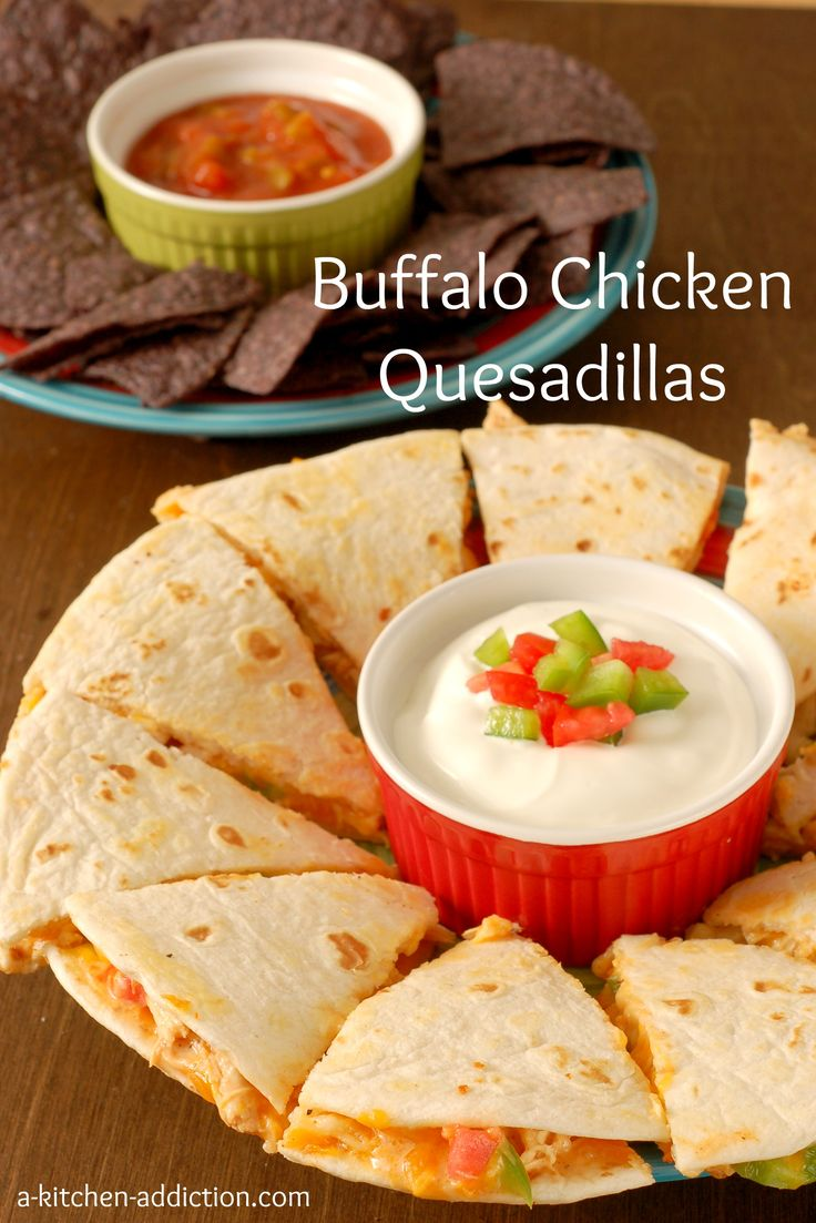 Buffalo Chicken Quesadillas  4 flour tortillas 1 C cooked and shredded chicken 1/4 C hot sauce 2 tbsp ranch dressing 1/4 C green pepper, chopped 1/4 C tomatoes, chopped 1 C shredded cheese