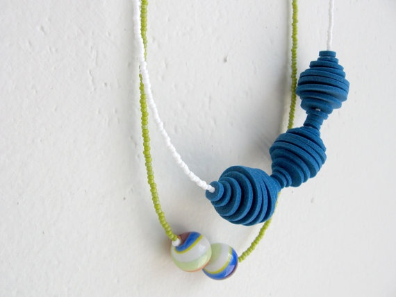 blue circles with white green and multicolor beads by pergamondo