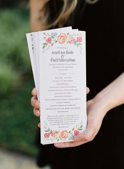 Beautiful wedding programs: http://www.stylemepretty.com/2015/01/30/naturally-elegant-midwestern-wedding/   Photography: Brett Heidebrecht - http://brettheidebrecht.com/
