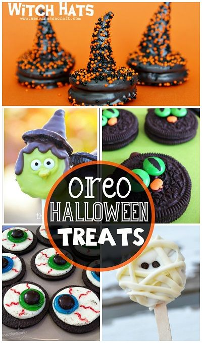 Fun Oreo Halloween Treats to Make (Ghost, witch hat, eyeballs, mummy, cat, pumpkin, and more!) | CraftyMorning.com