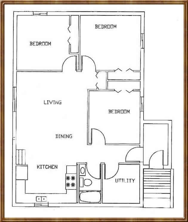 Single story cabin open floor plan new house living Tiny house floor plan kit