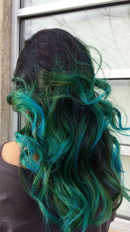 Black to teal green & blue ombre hair color, nice mermaid hairstyle for long hair, sea-foam ombre hair color