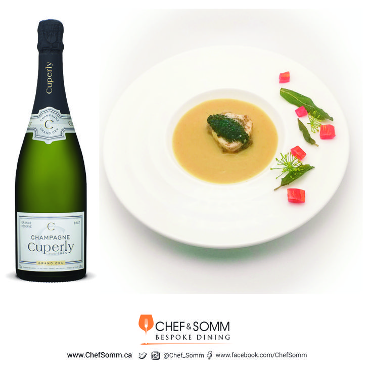 Chef Liebman's White Bean Soup with Bone Marrow and Cured Caviar paired with Cuperly Grande Réserve, Grand Cru, Champagne NV More about this pairing on our FB & IG pages