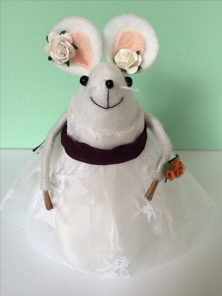 Bridesmaid mouse created in her style dress as a belated thank you gift from the bride and groom. Debenhams style dress with own material belt. By Merry mice