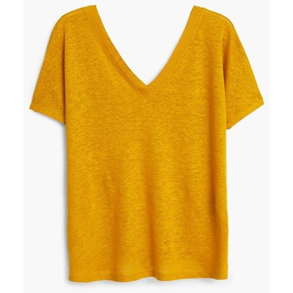 Linen T-Shirt ($13) ❤ liked on Polyvore featuring tops, t-shirts, shirts, short sleeve, yellow shirt, vneck t shirts, t shirts, short sleeve tee and yellow tee