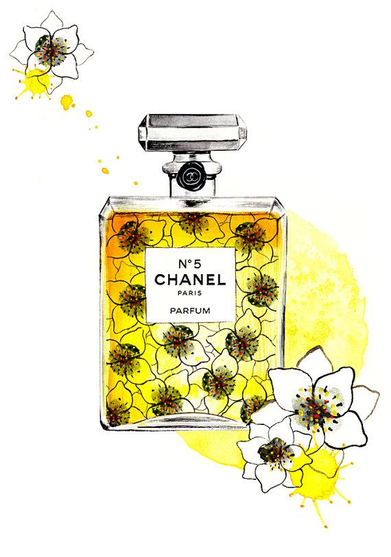 Perfume Illustration Chanel N 5- Watercolor Fashion illustration on Etsy, $30.00