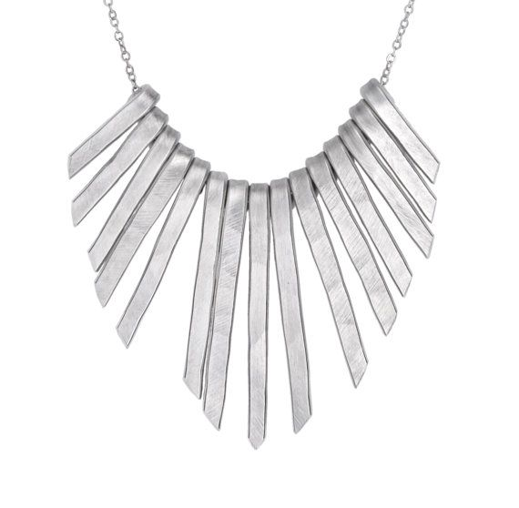 Silver Statement Necklace Silver Bib Necklace Fringe by SidKassidy