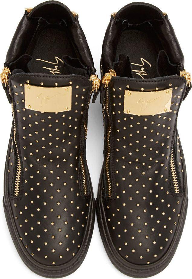 Giuseppe Zanotti - Black Leather Mini-Stud Sneakers