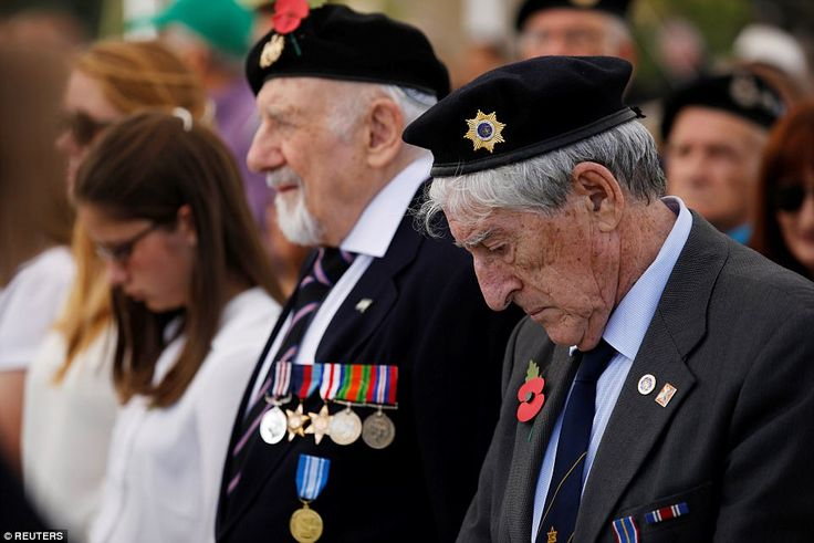 Veterans pictured on Whitehall in London ahead of services at the Cenotaph to honour Brita...