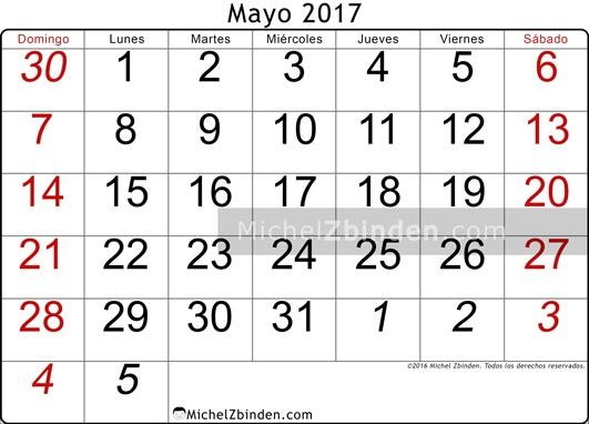 calendario mayo 2017 libre de imprimir Oseus domingo Argentina