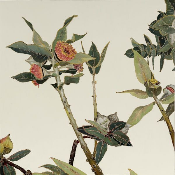 SOLD - Pink gum blossom, watercolour paint on stonehenge paper, 70 x 70cm, 2009
