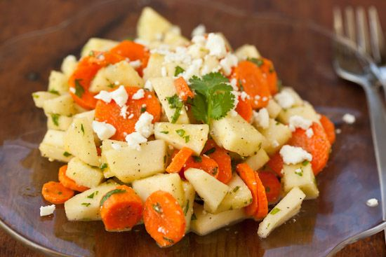 Apple Carrot Salad with Cilantro and Feta Cheese | Recipe ...