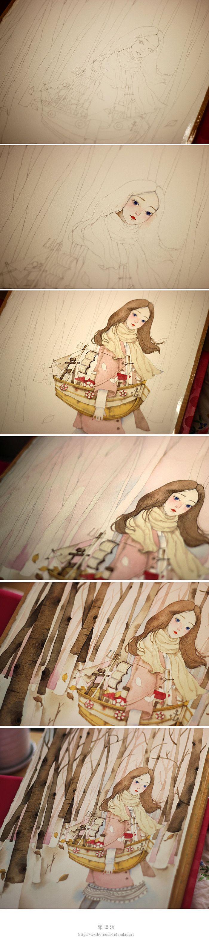 秋天的树-李淡淡_原创,插画,水彩,小清新_涂鸦王国插画