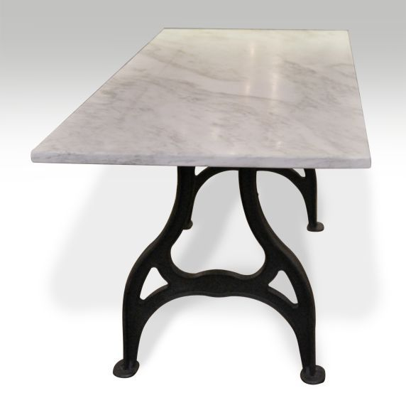 Reclaimed Marble Table Top With Industrial Iron Legs Ideas