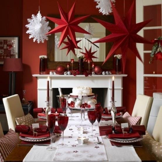 Christmas dinner party I love the ceiling decor