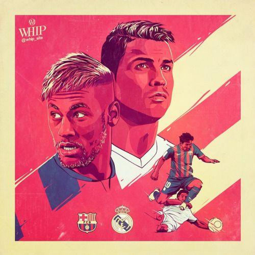 Some sick graphic art in promotion of last seasons El Clasico. Neymar, Messi and Ronaldo.
