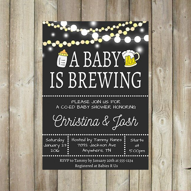 A BABY is BREWING Baby Shower Invitation - Co-Ed Baby Shower - Beer & Bottles - Baby-Q - String LIghts - Digital File by FavoriteThingsDesign on Etsy https://www.etsy.com/listing/260585309/a-baby-is-brewing-baby-shower-invitation