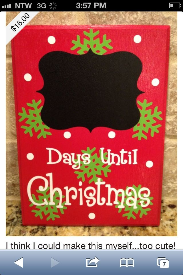 Days Until Christmas.. could be easy to do, buy the chalkboard jar labels, paint two by four blocks and modgepodge letters and flakes on. Only cost really would be the chalkboard stickers