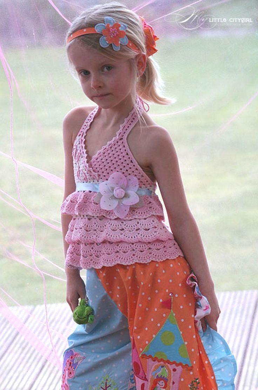 Ruffles Crocheted Top in Light Pink