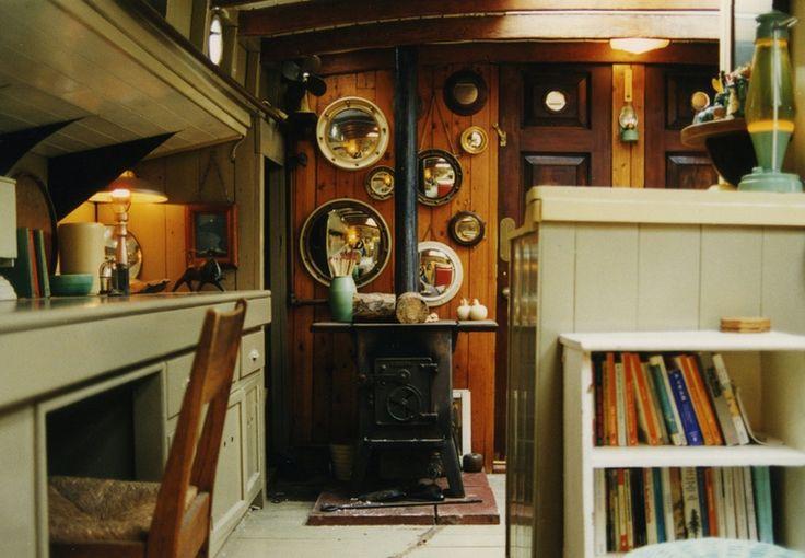 RESTORED 1910 DUTCH BARGE River Thames at Hampton Court Interior design Stephen Male 1993