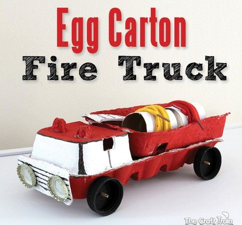 Egg Box Carton Toy. Exterior. transportation. how to. Great for carrying the firefighters to quench a fire.