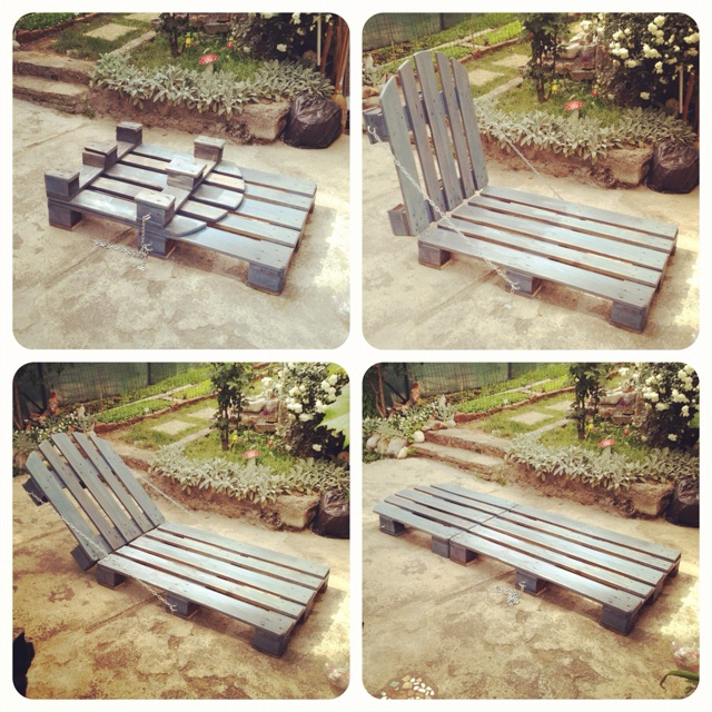 diy pallet lounge chair- made from 2 euro pallets