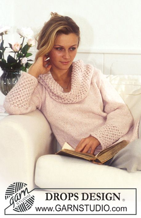 DROPS Pullover in Angora Tweed ~ DROPS Design.  Wouldn't it look equally gorgeous in crochet? Methinks adaptable!
