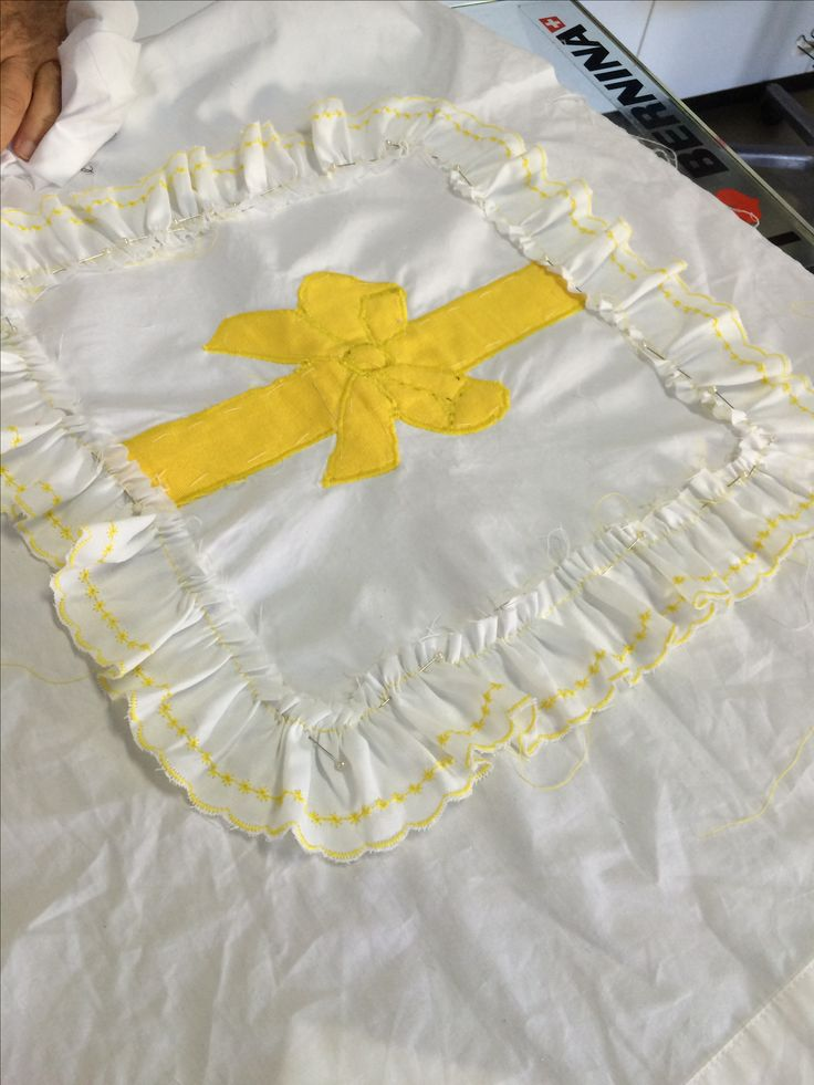 Hand made frill and appliquéd cushion in progress. Sewkenso's student nearly finished- just some ribbon binding to come