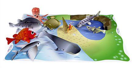 魚つりセット魚つりセット(くじら たこ ふぐ めばる めだか ヤドカリ カレイ やまめ トビウオ 釣り堀) 無料素材 ダウンロード | ペーパーミュージアム