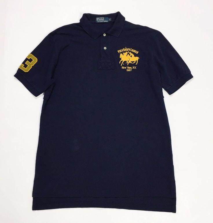 Polo ralph lauren L maglia uomo usata blu usato manica corta polo t shirt T2795