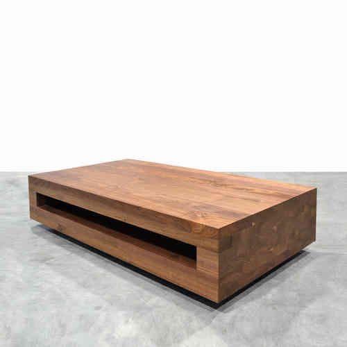 Salontafel Samba, massief hout met open vak - Houtmerk.nl - Massieve houten bladen en panelen in elke afmeting!