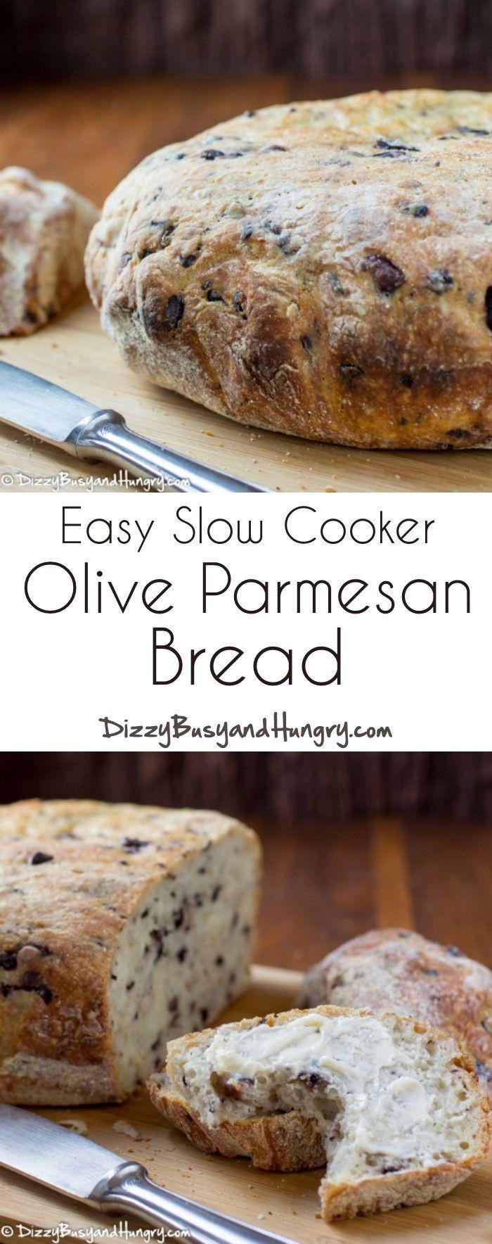 Easy Slow Cooker Olive Parmesan Bread http://www.dizzybusyandhungry.com/easy-slow-cooker-olive-parmesan-bread/