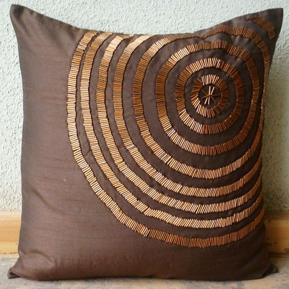 Magical ILLusion - Throw Pillow Covers - 18x18 Inches Square Pillow Cover in Brown Silk Dupion with Bead Hand Embroidery