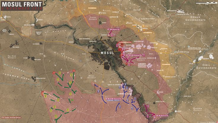 Iraqi Map Update: Battle for Mosul on November 8, 2016 - http://www.therussophile.org/iraqi-map-update-battle-for-mosul-on-november-8-2016.html/