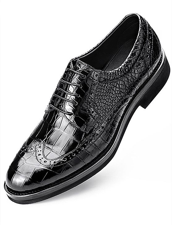 e540b80cc92 Classic Alligator Leather Dress Shoes Lace up Wingtip Brogue Shoes ...