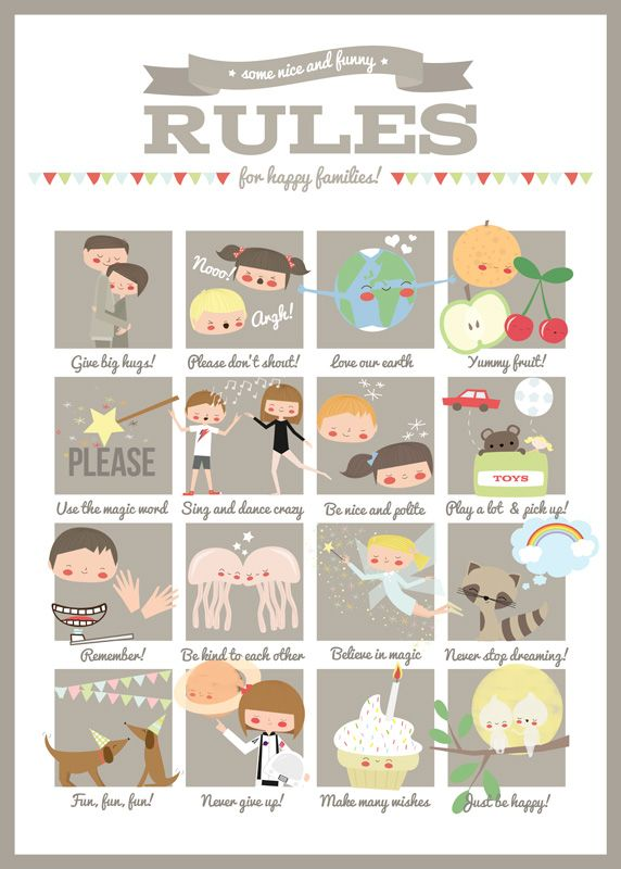 Family Rules Print - Fun Family Rules for Kids - Apanona