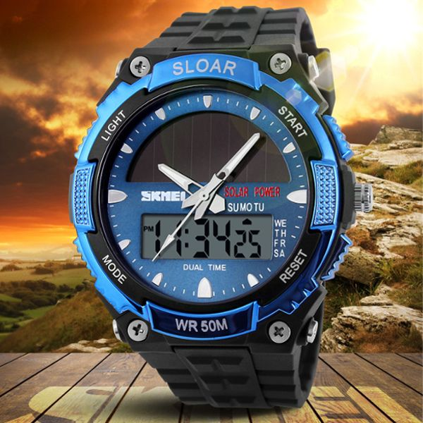 SKMEI 1049 Solar Power Dual Time Waterproof LED Analog Digital Watch at Banggood
