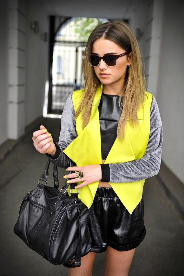 : Jacket, Leather Shorts, Street Fashion, Clothes, Street Style, Neon, Street Styles, Yellow, Closet