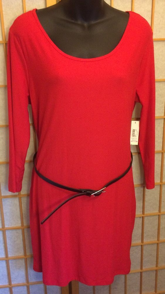 No Boundaries Long Sleeve Red Belted Tunic Juniors XL  | eBay