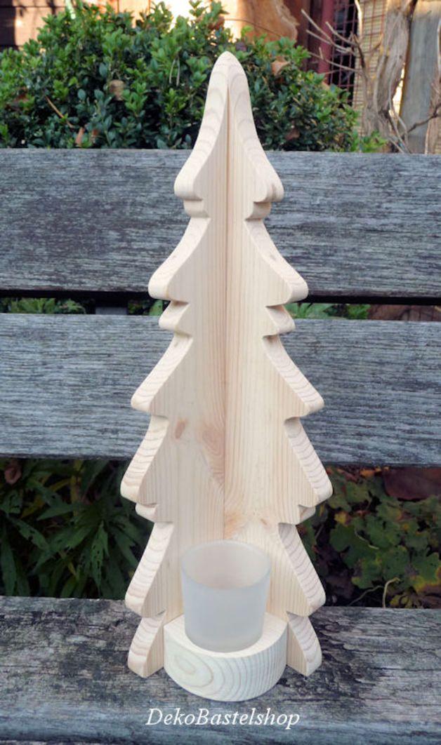 Weihnachtsdeko - Holz-Tanne Weihnachtsbaum Deko Licht Weihnachten - ein Designerstück von DekoBastelshop bei DaWanda