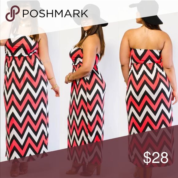 New Plus Size Chevron Print Maxi Dress Size 3X Super Soft and Super Comfy PLUS SIZE Chevron Sleeveless Maxi Tube Dress  