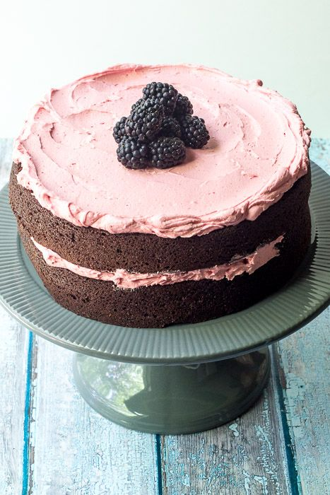 Chocolate beet cake with blackberry buttercream is a beautiful, fresh dessert.