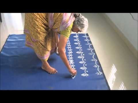Drawing simple rangoli designs ( for Diwali ) ( star kolam ) - YouTube
