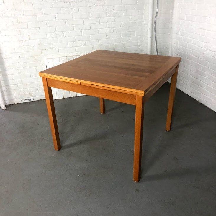 Danish Modern Square Extendable Teak Dining Table Teak Dining