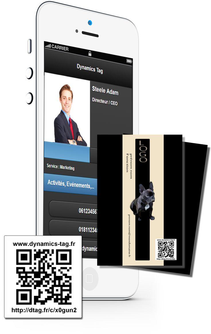 Cartes de visite papier associée à une carte de visite virtuelles via un qrcode : carte fond noire avec bulldog français