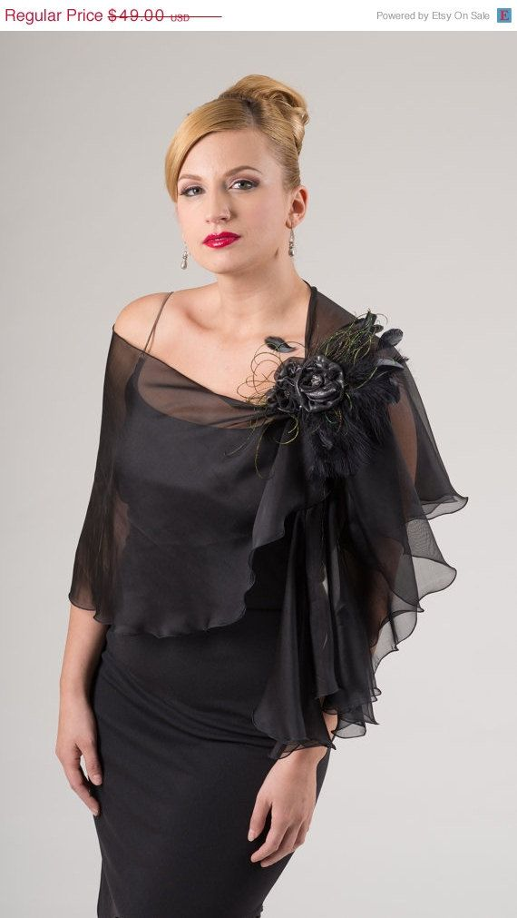 Price Promotional 100% Silk Chiffon Black Evening Wrap- Shawl - Scarf